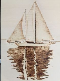 Pyrography Sailboat