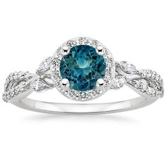 Teal Sapphire Luxe Willow Halo Engagement Ring - Platinum