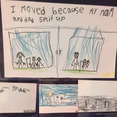 "This is work my 1st & 2nd graders did following the viewing of Jacob Lawrence art, ""Migration."" leading up to this, we also read stories about immigration, migration, and moving. Students thought about ""Why people/families move. In this project, they created ""Panels"" to explain their experiences.Following the Jacob Lawrence Process, 1) students thought about a move they made. either short or long distance. 2) wrote captions. 3) chose 3-4 colors and then drew their Panels."