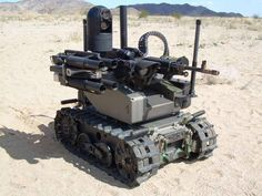 """Modern descendants of the """"Walkers""""– a Department of Homeland Security M1065 Remote Operated Ground Vehicle near the South Border Fence, May 2015. The M1065s are operated by quadriplegic combat veterans, who control the machines via a series of cranial implants.   Generally, the DHS utilizes Army and Marine Corps veterans to control their M1065s; as the cross-border actions of the Los Zetas become more violent, the DHS has now been able to use its own wounded warriors."""
