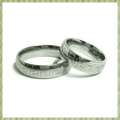 """His & Hers Matching Greek Key Fret Wedding Rings PAIR of 2 rings.  Greek key design Wedding Rings. Greek keys signify UNITY.  Bridal, engagement, promise, couple's rings.  Brand NEW.  Silver Stainless Steel.  Hypoallergenic.  They are all 6mm wide.  Comfort-fit design bands.  Pick TWO sizes of your choice. Some are limited quantities. Available sizes: 7 * 8  * 9 * 10.25 * 11.75  I measured every SINGLE ring, so there are no mistakes with sizes. There will be no refunds for rings """"not…"""