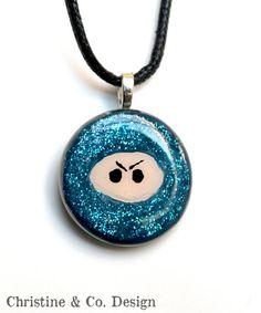 Blue Sparkle Ninja Pendant Necklace by ChristineandCodesign, $25.00