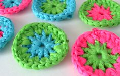 Neon Crochet Pot Scrubbers Tutorial, thanks so xox