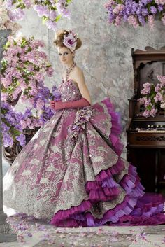 "Gorgeous wedding dress in stunning colors from Stella de Libero ""The Lilac"" bridal collection *_*"