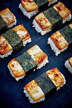 "Tofu Musubi - Marinated Tofu Sushi from Vegan Tofu Recipes - Tofu Recipes To Try In Vegan? Wondering what to do with that tofu you bought? You gotta ""check"" out this list of vegan tofu recipes! Tofu Recipes, Whole Food Recipes, Vegetarian Recipes, Cooking Recipes, Cooking Tips, Tofu Sushi, Sushi Food, Veggie Food, Sushi Recipes"