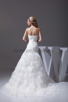 Strapless A-Line Organza Wedding Dress Bridal Gown