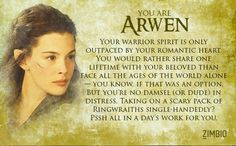 Which character are you? I got Arwen :) (if u click on the pic just press retake quiz to take the quiz)