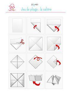 """Le jeu de la cocotte en papier, aussi appelé """"salière"""" ou """"coin-coin"""" est un origami qui permet de jouer le diseur de bonne aventure. Facile à réaliser, les enfants adore ce jeu ! Suivez les instructions pour fabriquer votre cocotte."""