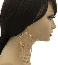 Gold Hoop Earrings with Fringe Chain Gold Hoops, Gold Hoop Earrings, Gold Necklace, Wholesale Jewelry, Trendy Fashion, Stylists, Chain, Accessories, Style