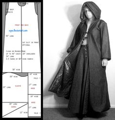 "Pattern: Slim Cloak by eqos on deviantART 2.5 yards - 3 yards 46"" chest 19"" shoulders 54"" long 2.5 yards of 60"" fabric"
