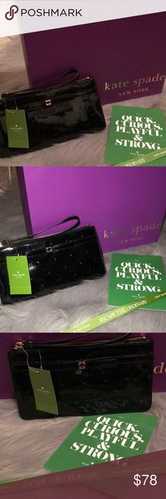 Kate Spade wristlet jemima camellia Street NWT Kate Spade jemima camellia Street Black wristlet NWT and care card. Patent Leather with dots, dots and more dots this beauty would look great hanging from your wrist. Or you can add it to your Kate spade bag oops there is a beauty right here in my closet that it would go perfect with. Just a thought:) Has 8 credit card slots and wide open inside for all the extras, phone, lipstick and compact. Measurements are 9 x 5. Trade price retail unless…