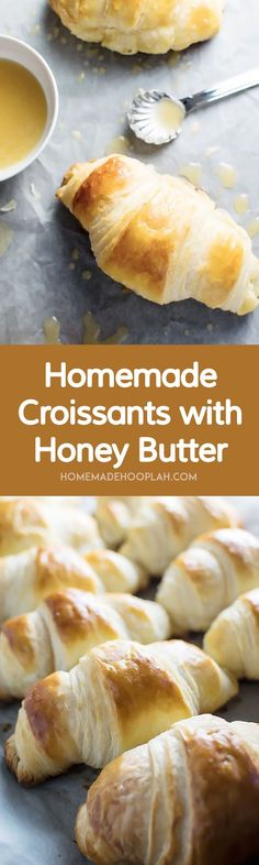 Homemade Croissants with Honey Butter Drizzle! With a little time you can make your own flaky, buttery croissants at home. They're great on their on but amazing with the honey butter drizzle! Bread Recipes, Baking Recipes, Pastry Recipes, Yummy Recipes, Scones, Butter Croissant, Homemade Croissants, Breakfast Recipes, Dessert Recipes