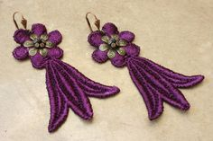 PURPLE PUNCH lace earrings SASHA purple by tinaevarenee on Etsy, $24.00