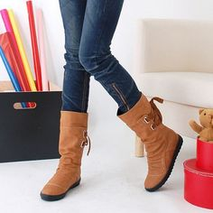 Big Size Pure Color Lace Up Ankle Flat Knight Martin Boots