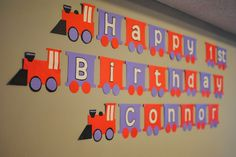 Train Birthday Banner with free printable template!