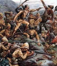 Melee combat between Boer troops and British Highlanders, Second Boer War. This level of close combat was extremely rare in the Second Boer War. The Boers were adept at retiring from their lines of defense prior to them being over run and were rarely inclined to take their attacks to face to face contact.