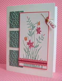 from ernalogtenberg blogspot --uses Stampin Up's just friends stamp set and wallpaper embossing folder.