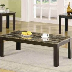 Coaster 3 Piece Occasional Table Sets Coffee and End Table Set with Marble-Look Top 3 Piece Coffee Table Set, Stone Coffee Table, Marble Top Coffee Table, Coffee And End Tables, End Table Sets, Round Side Table, Side Tables, Living Room Kitchen, Living Room Sets