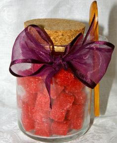 Pomegranate Flavored Sugar Cubes 8 oz Corked Glass Jar by trio3, $14.00
