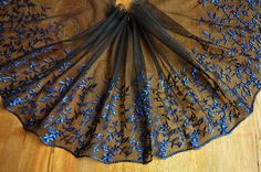 2 Yards Lace Trim Black Tulle Royal-blue Embroidery by lacediy