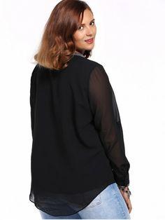 Chic Plus Size High-Low Hem V Neck Long Sleeve Women's Mesh Blouse - BLACK 3XL