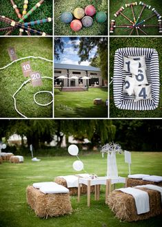 Tons of cute lawn games, also like the lawn seating made out of hay bales. I want to use the same tent for the ceremony and reception, so this can be set up outside for the cocktail hour while the tent is being redone for the reception.