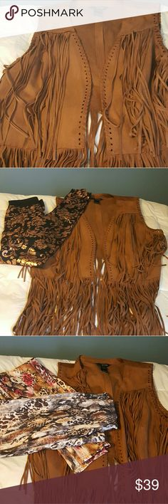 Great Suede Fringe Vest w/Matching Scarf This is so freaking adorable, in a rich Milk Chocolate color, comes with a matching scarf, which is great on its own or with the vest.  I have it pictured with some leggings from my closet, make a bundle and be the talk of the town! Tops