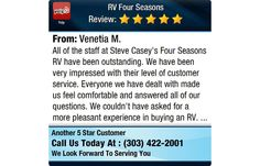 """#RVing 5 Star: Venetia M. """"All of the staff at Steve Casey's Four Seasons RV have been outstanding. We have been very impressed with their level of customer service. Everyone we have dealt with made us feel comfortable and answered all of our questions. We couldn't have asked for a more pleasant experience in buying an RV."""" http://www.yelp.com/biz/rv-four-seasons-wheat-ridge"""