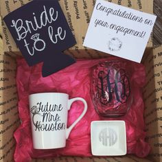Engagement Box Congratulations on your by ShopPrettyinRose Engagement Gifts For Bride, Engagement Box, Engagement Presents, Bride To Be Gifts, Bridal Shower Gifts, Bridal Gifts, Wedding Gifts, Wedding Ideas, Wedding Fun