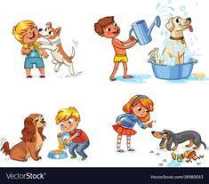 Dog training funny cartoon character vector image on VectorStock Funny Cartoon Characters, Funny Cartoons, Preschool Newsletter, Kids English, Crochet Square Patterns, Happy Boy, Work Activities, Rock Crafts, Infant Activities