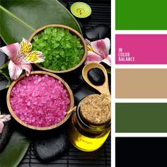 color esmeralda, color fucsia, color piedra caliente para SPA, color sal marina, color verde jade, combinación de colores para decorar interiores, elección del color, negro, selección de colores para el diseño de interiores, tonos verdes.