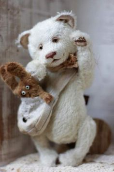 beautiful bear Conor and his friend Jack By Anzhelika Costin 21cm - Bear Pile