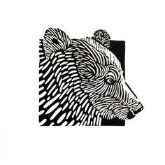 Bear linocut, hand printed, matted, ready to frame, wall art, woodland animal. €35.00, via Etsy.