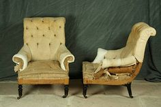 Napoleon III armchairs....just waiting for new finery