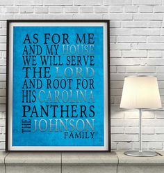 """Carolina Panthers football inspired Personalized Customized Art Print- """"As for Me"""" Parody- Unframed Print"""