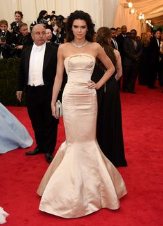 Kendall Jenner Topshop ivory gown - Red Carpet Arrivals at the Met Gala 2014