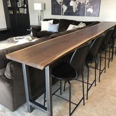home theater rooms basements Live Edge Sofa Table Home Bar Table Etsy amp; live edge sofa tisch home stehtisch etsy Bar Furniture, Interior, Home, Living Room Decor, Bars For Home, Table Behind Couch, Home Bar Table, Live Edge Bar, Live Edge Dining Table