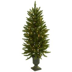 Nearly Natural 4 ft. Artificial Christmas Tree with Urn and Clear Lights-5369 - The Home Depot