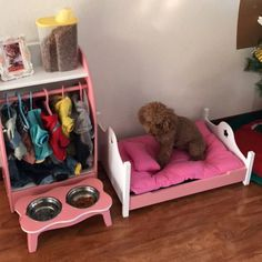 Buy Pet home set contains pet wooden bed paint wardrobe pet dish rack kennel princess bed cat bed cat supplies in – Animals Puppy Room, Puppy Beds, Dog Bedroom, Room Ideas Bedroom, Dog Closet, Dog Spaces, Dog Corner, Dog Furniture, Dog Rooms