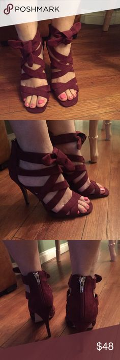 Burgundy heels  ✨Gorgeous burgundy strappy heels never worn.   New without tag Look through my closet to pair with this item& bundle to save! ❣️Make An Offer!❣️ Madden Girl Shoes Heels