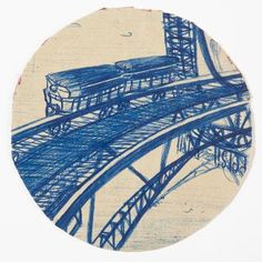 UNTITLED (TRAIN ON A BRIDGE)/Willem van Genk n.d.,Ballpoint pen on paper, 4 ¼ inches diameter, Collection Museum Dr. Guislain, Ghent, 24021033 Photo: Guido Suykens
