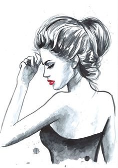 Original Watercolor Fashion Illustration: Bold, Red Lips