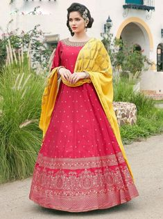 Impressive pink embroidered gown online at best shopping price. Shop this latest gown style for diwali celebration. This alluring style set comprises a satin gown with matching chiffon dupatta and crepe bottom.