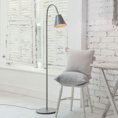 ASHWELL FLOOR LAMP IN POLISHED Black Desk Lamps, Brass Table Lamps, Office Lamp, Window Furniture, Standard Lamps, Living Room Flooring, Lamp Design, Cool Lighting, A Table