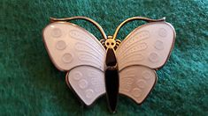 Aksel Holmsen Silver BUTTERFLY BROOCH White & Black Enamel Guilloche Norway 925