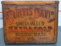 Antique Vintage Advertising Soap Box Curtis Davis Unequalled Bar Boston Mass.