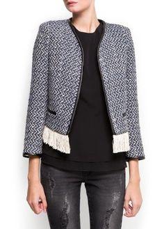 Mango Women's Fringed Bouclé Jacket MANGO, $59.99  http://www.amazon.com/dp/B009X0JTVO/ref=cm_sw_r_pi_dp_Q7dirb1H9Q2CG