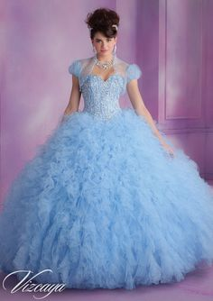 Quinceanera Gowns Style 89005: 89005 Satin and Ruffled Tulle Quinceanera Dress with Beading http://www.morilee.com/quinceanera/quinceanera_vizcaya/89005