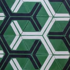 Green and black geometric Moroccan tiles by Popham