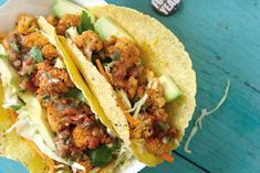 Roasted Beer and Lime Cauliflower Tacos with Cilantro Coleslaw  recipe